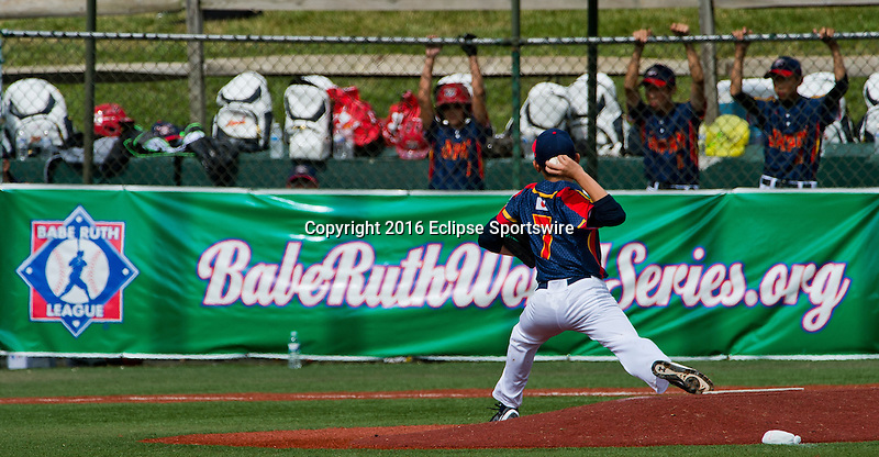 ABERDEEN, MD - AUGUST 02: Hiroki Hayashi #7 of Japan pitches for Japan against New Zealand during a game between Japan and New Zealand during the Cal Ripken World Series at The Ripken Experience Powered by Under Armour on August 2, 2016 in Aberdeen, Maryland. (Photo by Ripken Baseball/Eclipse Sportswire/Getty Images)