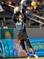 CARSON, CA - June 23, 2012: Vancouver Whitecaps goalie Joe Cannon (1) prior to the LA Galaxy vs Vancouver Whitecaps FC match at the Home Depot Center in Carson, California. Final score LA Galaxy 3, Vancouver Whitecaps FC 0.