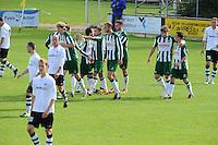 VOETBAL: JOURE: Sportpark Hege Simmerdyk, 06-09-2015, SC Joure - VV Bergum, Eindstand 2-1, felicitaties voor Martijn Dijk (1-0) (#11), ©foto Martin de Jong