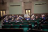 WARSAW, POLAND, DECEMBER 20, 2016:<br /> Oposition members occupying the main plenary hall of Sejm, Polish parliament, during the standoff with the government over the freedom of press and illegal budget ruling.<br />  The opposition objects to government plans to limit the number of journalists allowed to cover parliamentary proceedings. The MPs' protest delayed a budget vote, which was later held away from the main parliament chamber. (Photo by Joanna Scheuring-Wielgus for Piotr Malecki / Napo Images) **** WARSZAWA, 20.12.2016. Czlonkowie opozycji okupuja sejm podczas kryzysu parlamentarnego z powodu ograniczenia dostepu mediow do sejmu oraz nielegalnego uchwalenia budzetu. Fot. Joanna Scheuring-Wielgus dla Piotra Maleckiego / Napo Images ###ZDJECIE MOZE BYC UZYTE W KONTEKSCIE NIEOBRAZAJACYM OSOB PRZEDSTAWIONYCH NA FOTOGRAFII### ### Cena zdjecia w/g cennika FORUM plus 50% (cena minimalna 100 PLN)