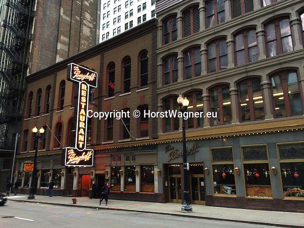 Chicago, Illinois, United States of America / USA; December 28, 2016 -- Legendary Berghoff Restaurant, Adams Street -- Photo: © HorstWagner.eu