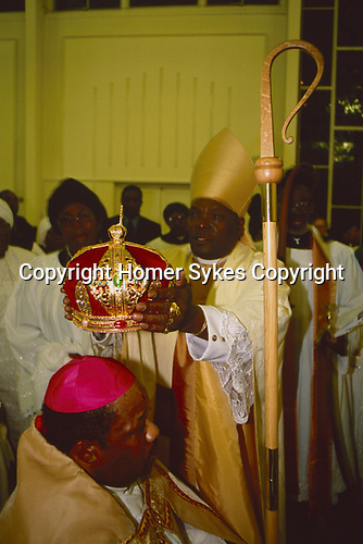 Black Christian church London Uk Church of God of Prophecy, the enthronement of a new Bishop.