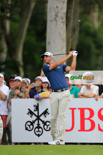 Dustin Johnson (USA) on the 11th tee during Round 1 of the 2015 UBS Hong Kong Open at the Hong Kong Golf Club in The Netherlands on 2/10/15.<br /> Picture: Thos Caffrey | Golffile