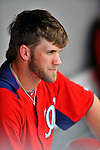 10 March 2012: Washington Nationals' outfielder Bryce Harper sits in the dugout during a Spring Training game against the New York Mets at Space Coast Stadium in Viera, Florida. The Nationals defeated the Mets 8-2 in Grapefruit League play. Mandatory Credit: Ed Wolfstein Photo