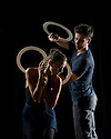 London, UK. 15.09.2014. Gandini Juggling, 4 x 4 Ephemeral Architecture, Creation Studio, NCCA (Circus Space), Hoxton. Directed and devised by Sean Gandini, choreographed by Ludovic Ondiviela. Picture shows: Kate Byrne (dancer) and Sakari Mannisto (juggler). Photograph © Jane Hobson.