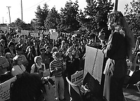 Actress Jane Fonda speaking at Strike Rally with the Machinists Union against Rylock Co. of Union City,Ca<br />Nov 1,1977. (photo by Ron Riesterer)