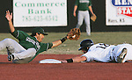 CHAD PILSTER &middot; Hays Daily News<br /> <br /> Fort Hays State University's Shane Wade (18) is safe as Northwest Missouri State University's Cameron Bedard (11) misses the tag on Wednesday, March 13, 2013 at Larks Park in Hays, Kansas. Fort Hays State University played a double header against Northwest Missouri State University. This was the second game.