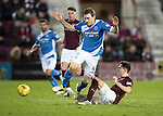 Hearts v St Johnstone&hellip;05.11.16  Tynecastle   SPFL<br />Liam Smith fouls Blair Alston<br />Picture by Graeme Hart.<br />Copyright Perthshire Picture Agency<br />Tel: 01738 623350  Mobile: 07990 594431