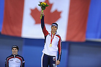 SPEEDSKATING: CALGARY: 15-11-2015, Olympic Oval, ISU World Cup, Podium 1500m Ladies, winner Brittany Bowe (USA), ©foto Martin de Jong
