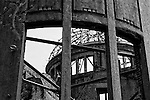 Photo shows a section of the A-Bomb Dome in Hiroshima, Japan. The A-Bomb Dome is the skeletal ruins of what was, before the world's first nuclear attack on Aug. 6 1945,  the city's Industrial Promotion Hall. Although the building was the closest to the hypocenter of the nuclear bomb, its basic structure remained standing and has been preserved in the state it was found after the bombing.
