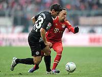 FUSSBALL   1. BUNDESLIGA  SAISON 2011/2012   21. Spieltag FC Bayern Muenchen - 1. FC Kaiserslautern       11.02.2012 Florian Dick (li, 1. FC Kaiserslautern) gegen Franck Ribery (FC Bayern Muenchen)