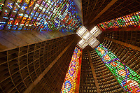 Stained  glass windows over 200 feet high    Metropolitan Cathedral, Rio De Janiero, Brazil