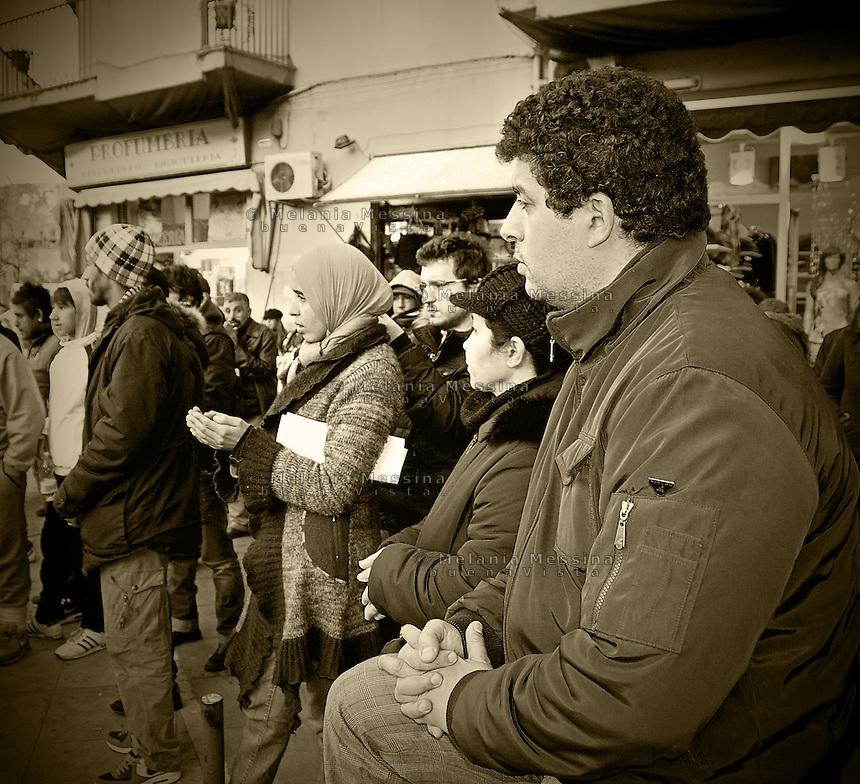 Palermo, protest in solidarity with Adnan Noureddine, the Moroccan street vendor who died after burninig himself in response to the control of municipal police.<br /> Palermo, manifestazione di protesta in solidariet? con Adnan Noureddine, il ragazzo marocchino morto dopo essersi dato fuoco esasperato dai controlli della polizia municipale.