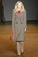 Julia Nobis walks runway in an outfit from the Marc by Marc Jacobs Fall/Winter 2011 collection, during New York Fashion Week, Fall 2011.
