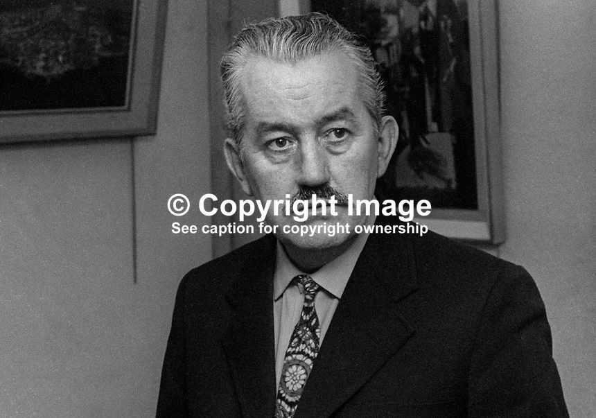 George Campbell, painter, artist, born Wicklow, Rep of Ireland, educated Dublin and lived for many years in Belfast, at an exhibition of his work in Belfast, January 1972, 197201000016..Copyright Image from Victor Patterson, 54 Dorchester Park, Belfast, UK, BT9 6RJ..Tel: +44 28 9066 1296.Mob: +44 7802 353836.Voicemail +44 20 8816 7153.Skype: victorpattersonbelfast.Email: victorpatterson@me.com.Email: victorpatterson@ireland.com (back-up)..IMPORTANT: If you wish to use this image or any other of my images please go to www.victorpatterson.com and click on the Terms & Conditions. Then contact me by email or phone with the reference number(s) of the image(s) concerned.