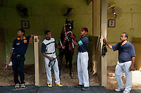 Horse & grooms before a race.  Champ de Mars Racecourse.