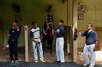Horse & grooms before a race.  Champ de Mars Racecourse.