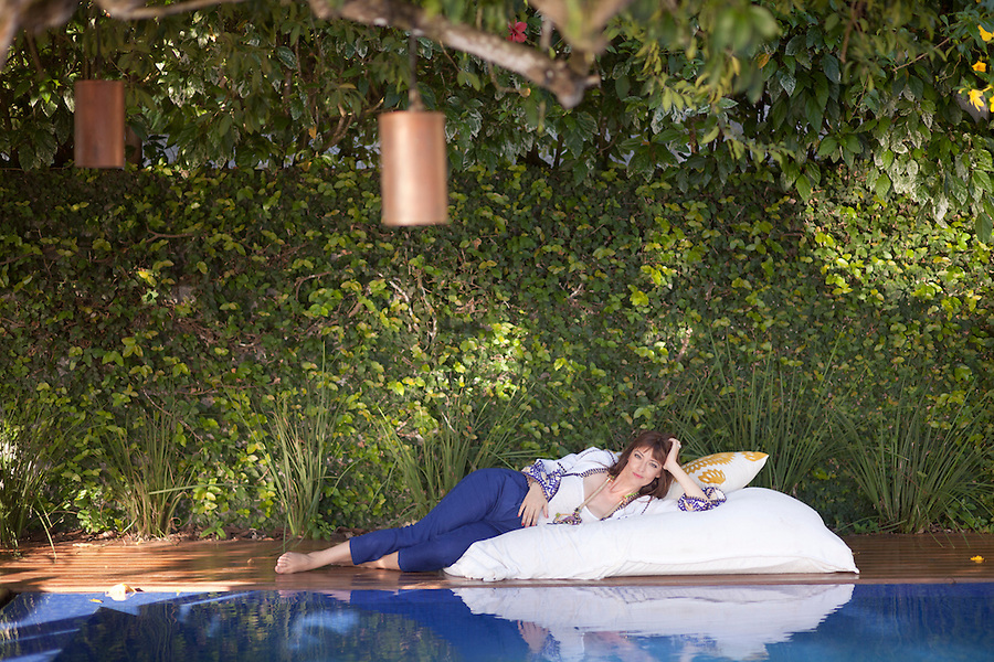 French countess Emanuelle Meeus de Clermont-Tonnerre, by the pool, at her pousada, Insolito Boutique Hotel.
