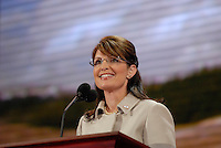 St. Paul, MN - September 3, 2008: Alaska Governor and Republican Vice President nominee Sarah Palin speaking at the 2008 Republican National Convention at the Excel Center in St. Paul, Minnesota..