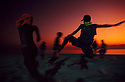 Gangs of street children fight at Copacabana beach, Rio de Janeiro, Brazil.