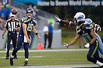 Seattle Seahawks quarterback Matt Flynn passes to wide receiver Deon Bulter in a pre-season game against the Tennessee Titans at CenturyLink Field in Seattle, Washington on August 11, 2012. ©2012. Jim Bryant Photo. All Rights Reserved..