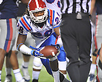 Louisiana Tech's Terry Carter (28) recovers a fumble by Ole Miss quarterback Randall Mackey (1) in Oxford, Miss. on Saturday, November 12, 2011.