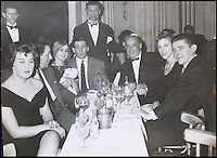 BNPS.co.uk (01202 558833)<br /> Pic: Gorringes/BNPS<br /> <br /> ****must use full byline****<br /> <br /> (3rd from L) Frances and Reggie Kray with friends at a London Club.<br /> <br /> A diary kept by the tragic wife of Reggie Kray describing her hellish life with the gangster including having to share a bed with a gun and a flick-knife has emerged.<br /> <br /> Long-suffering Frances Kray wrote of the constant abuse and drunken temper bouts she endured at the hands of the East End villain.<br /> <br /> Describing how Reggie kept a cache of deadly weapons in their bedroom, she said: &quot;(He) came back night time. By the side of bed gun, sword, knife, chopper, flick-knife.<br /> <br /> &quot;He used to sleep with flick-knife under his pillow.&quot;<br /> <br /> The diary along with letters and photographs are being auctioned tomorrow (Weds) at Gorringes, East Sussex.
