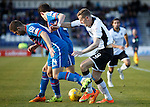 Inverness Caledonian Thistle v St Johnstone...24.10.15  SPFL  Tulloch Stadium, Inverness<br /> Steven MacLean battles with Danny Devin and Ryan Christie<br /> Picture by Graeme Hart.<br /> Copyright Perthshire Picture Agency<br /> Tel: 01738 623350  Mobile: 07990 594431
