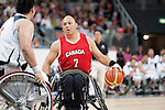 LONDON, ENGLAND 30/08/12: Richard Peter competes in the Men's Wheelchair Basketball preliminary round CAN vs. JPN at the London 2012 Paralympic Games at the Basketball Arena (Photo by: Courtney Pollock/Canadian Paralympic Committee)