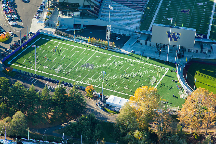 Aerial photo of the University of Washington's practice football field