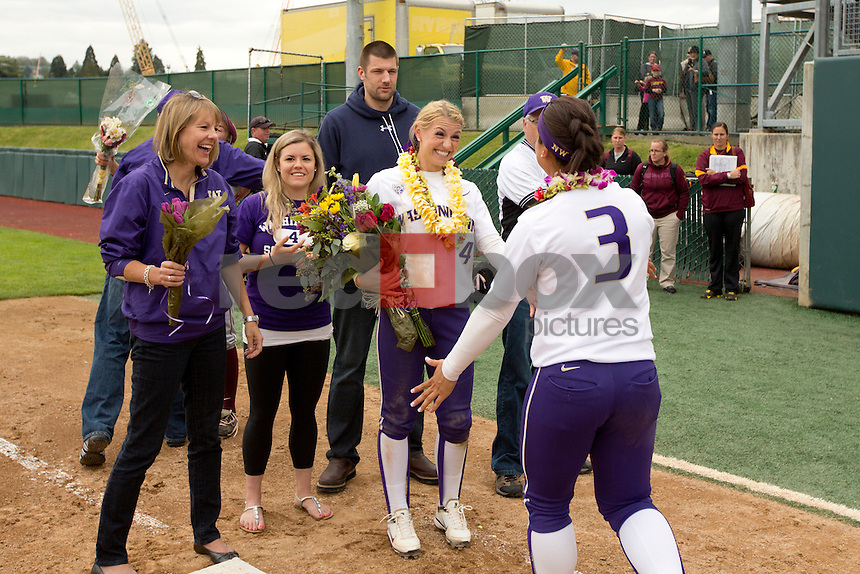 .Nikia Williams. Kimi Pohlman.The University of Washington women's softball team honored the seniors following their final home game of the regular season against Arizona State University on Sunday April 29, 2012.(Photo by Scott Eklund /Red Box Pictures)