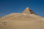 The Pyramids of Giza in the desert near Cairo, Egypt.