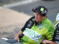 Jun 5, 2015; Englishtown, NJ, USA; NHRA funny car team owner Jim Dunn during qualifying for the Summernationals at Old Bridge Township Raceway Park. Mandatory Credit: Mark J. Rebilas-