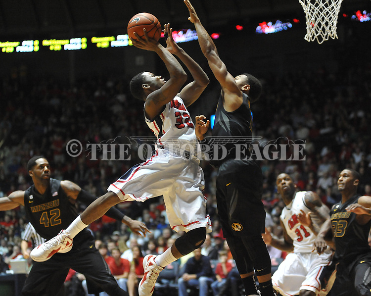 Ole Miss' Jarvis Summers (32) shoots at the C.M. &quot;Tad&quot; Smith Coliseum on Saturday, January 12, 2013. Ole Miss defeated #10 ranked Missouri 64-49.