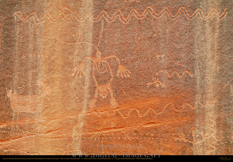 Shaman or Chief Struck by Lightning, Pronghorn Antelope and Snakes, Eye of the Sun Petroglyph Wall, Monument Valley Navajo Tribal Park, Navajo Nation Reservation, Utah/Arizona Border