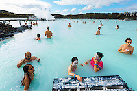 The Blue Lagoon in Reykjavik, Iceland. Bathers applying mud. Hurtigruten cruise.