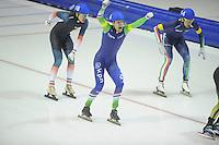 SCHAATSEN: HEERENVEEN: IJsstadion Thialf, 15-02-15, World Single Distances Speed Skating Championships, Mass Start, winnaar Arjan Stroetinga, ©foto Martin de Jong