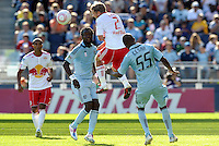 Red Bull midfielder Teemu Tainio (2) heads the ball away...Sporting Kansas City defeated New York Red Bulls 2-0 at LIVESTRONG Sporting Park, Kansas City, Kansas.
