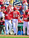 29 August 2010: Washington Nationals infielder Michael Morse comes home to score against the St. Louis Cardinals at Nationals Park in Washington, DC. The Nationals defeated the Cards 4-2 to take the final game of their 4-game series. Mandatory Credit: Ed Wolfstein Photo