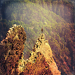 Caldera de Taburiente, La Palma, Canary Islands - manipulated photo with a man standig on a rocks peak.