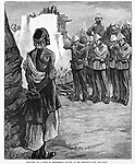 British war in Afghanistan 1879.  Execution by firing squad of a &quot;Ghazi&quot; (Islamic extremist terrorist) Muslim prisoner. Harper's Weekly 1879.