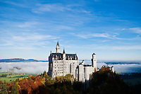 Scholss Nueschwanstein castle covered in Scaffolding for maintainence, Schwangau, Germany.  October 2008