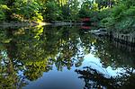 Duke Gardens, lake, red bridge