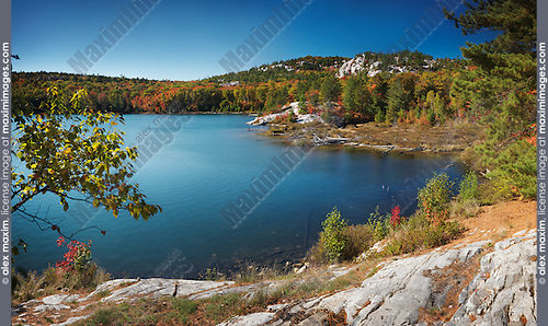 Beautiful fall nature scenery of lake Lumsden. Killarney Provincial Park, Ontario, Canada