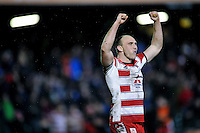 Steve McColl of Gloucester Rugby celebrates at the final whistle. Aviva Premiership match, between Bath Rugby and Gloucester Rugby on February 5, 2016 at the Recreation Ground in Bath, England. Photo by: Patrick Khachfe / Onside Images