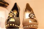 Alexander McQueen high heels with his trademark skull at Selfridges Womens Shoe Department, Marylebone, England, Europe