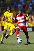28 AUGUST 2010:  Andy Iro of the Columbus Crew (6) and FC Dallas' Jeff Cunningham (9) during MLS soccer game between FC Dallas vs Columbus Crew at Crew Stadium in Columbus, Ohio on August 28, 2010.