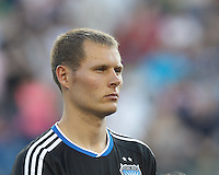 San Jose Earthquakes forward Adam Jahn (14). In a Major League Soccer (MLS) match, the New England Revolution (white) defeated San Jose Earthquakes (black), 2-0, at Gillette Stadium on July 6, 2013.