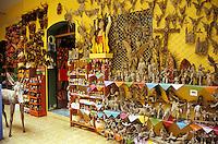 Wooden figurines and other handicrafts for sale in the MARO, Mujeres Artesanias de las Regiones de Oaxaca, shop in Oaxaca City, Mexico