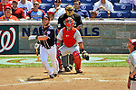 30 May 2011: Washington Nationals outfielder Laynce Nix hits a solo home run in the bottom of the 6th inning against the Philadelphia Phillies at Nationals Park in Washington, District of Columbia. The Phillies defeated the Nationals 5-4 to take the first game of their 3-game series. Mandatory Credit: Ed Wolfstein Photo